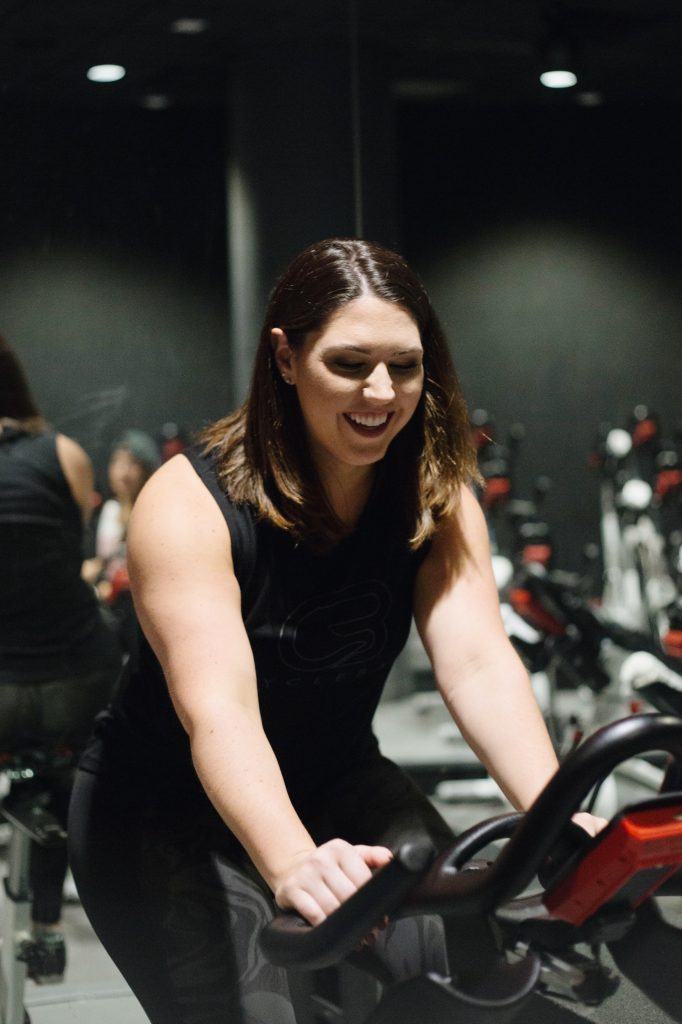 Natalie Casper on spin bike