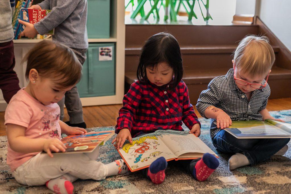 Children reading storybooks