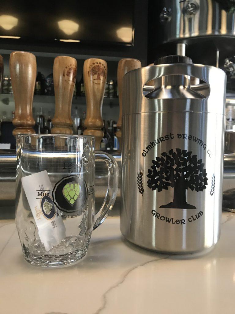 Elmhurst Brewing Co mug and growler