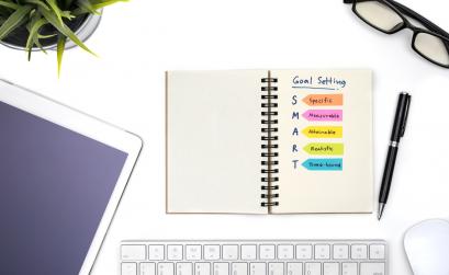 Notebook outlining SMART goals