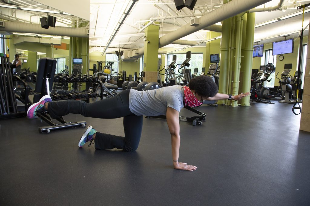 Joy Miles Performing Bird Dog - Core Workout For Beginners